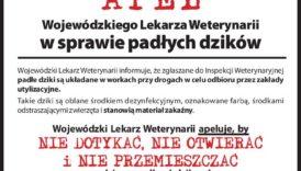 Czytaj więcej o: Apel w sprawie padłych dzików Lubelskiego Wojewódzkiego Lekarza Weterynarii w Lubinie